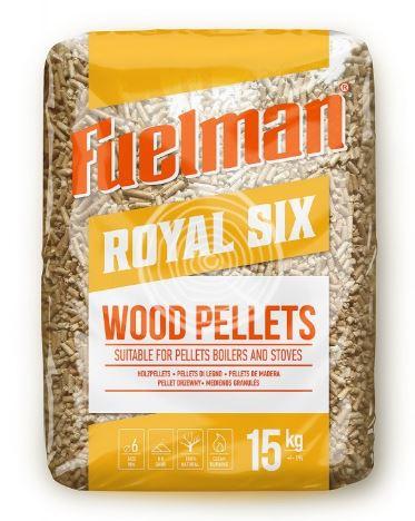 Medžio pjuvenų granulės royal six 6mm, 15kg